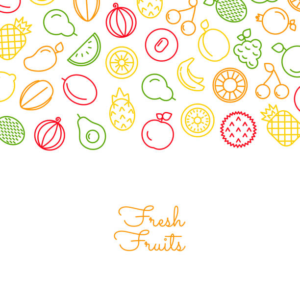 Vector line fruits icons background with place for text illustration Vector color line fruits icons background on white with place for text illustration fruit backgrounds stock illustrations