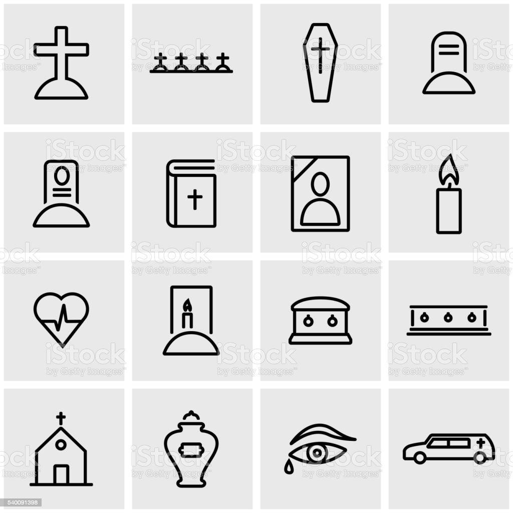 Vector line funeral icon set vector art illustration