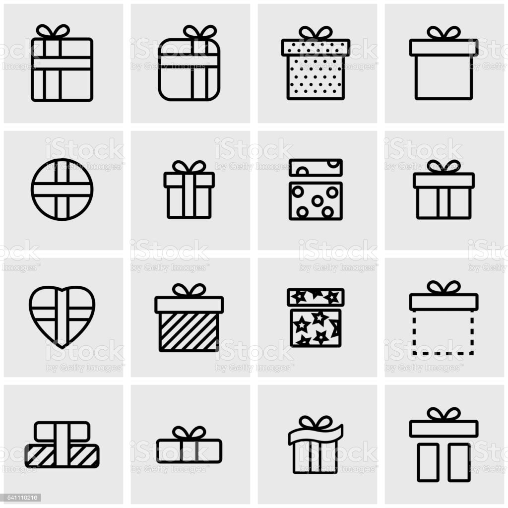 Vector line gift icon set vector art illustration