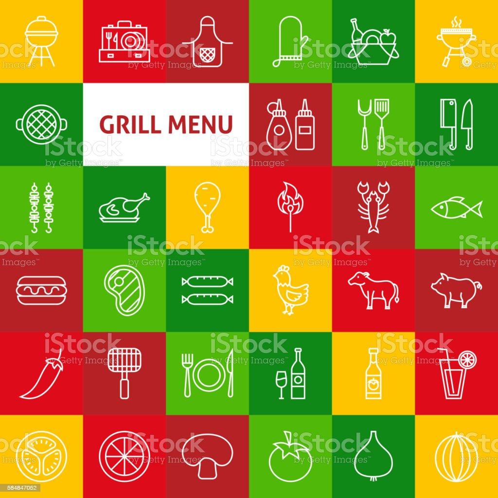 Vector Line Grill Menu Icons vector art illustration
