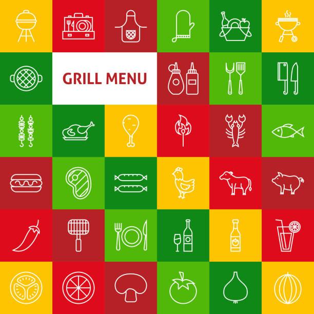 Vector Line Grill Menu Icons - illustrazione arte vettoriale
