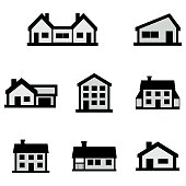 Houses icons set. Simple illustration of 8 houses vector icons for web