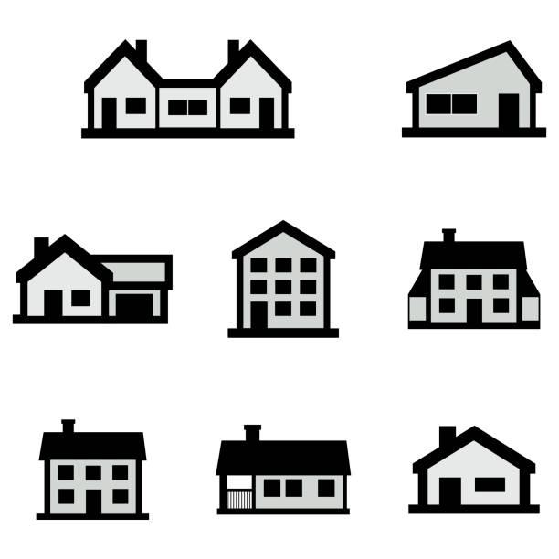 bildbanksillustrationer, clip art samt tecknat material och ikoner med vektor linje hus ikoner på vit bakgrund - construction workwear floor