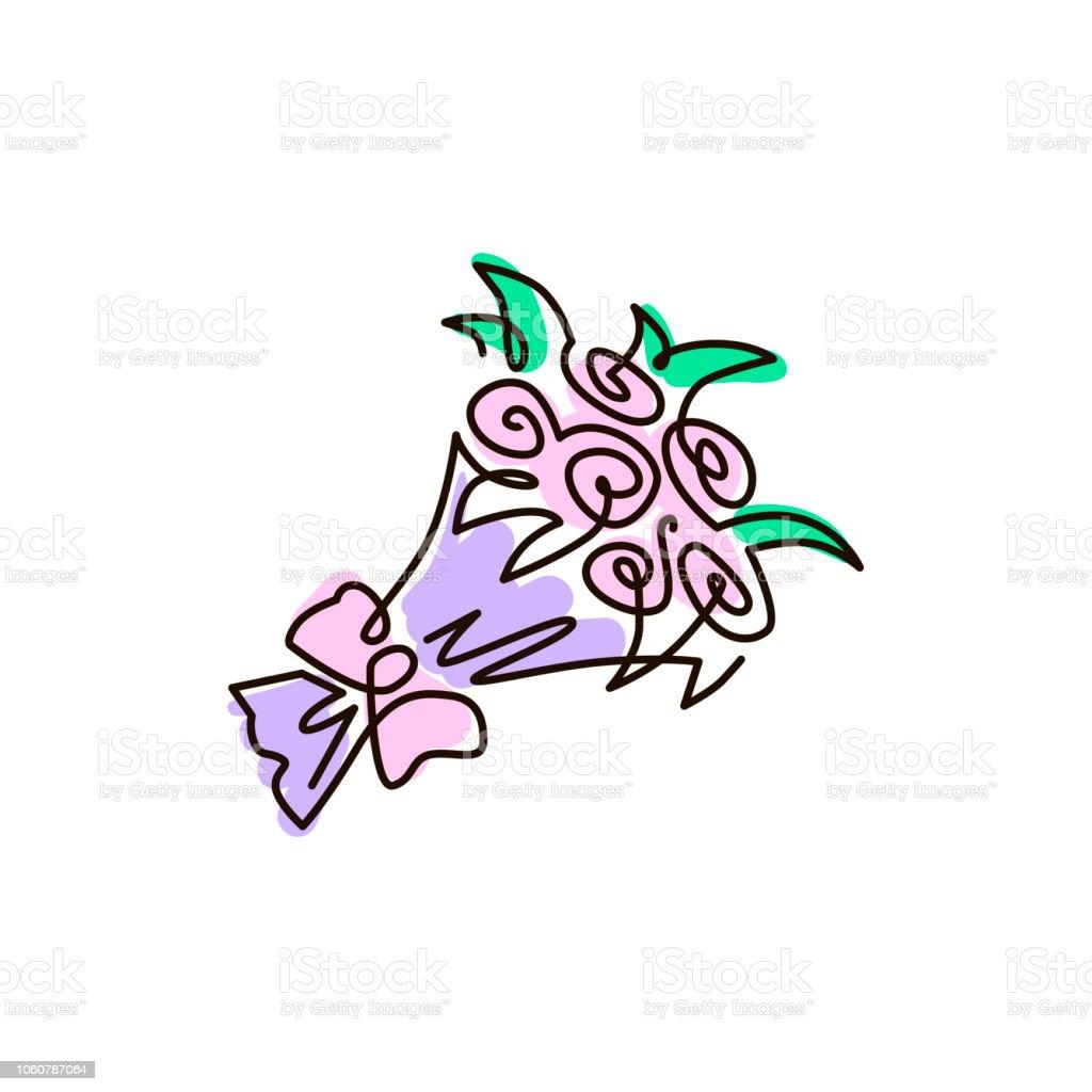Vecteur Ligne Icône Bouquet De Fleurs Une Ligne De Couleur