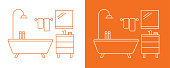 Vector line icon drawing design project fragment of a bathroom on a white and orange background