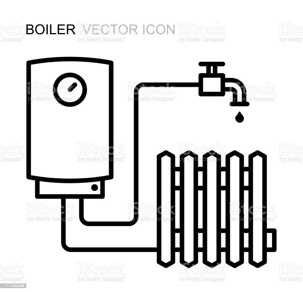 Vector Line Icon Of The Boiler Symbol Of Heating Equipment