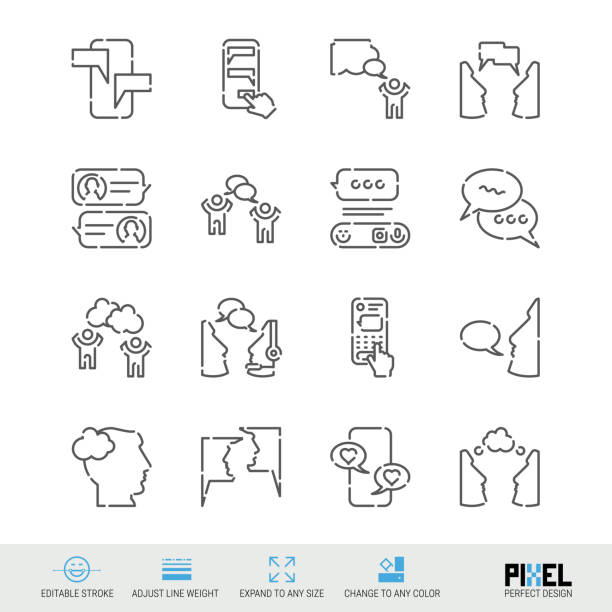 illustrazioni stock, clip art, cartoni animati e icone di tendenza di vector line icon set. communication related linear icons. dialogue, chat symbols, pictograms, signs - shifts call centre