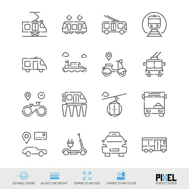 illustrazioni stock, clip art, cartoni animati e icone di tendenza di vector line icon set. public transport related linear icons. city vehicles symbols, pictograms, signs - monopattino elettrico