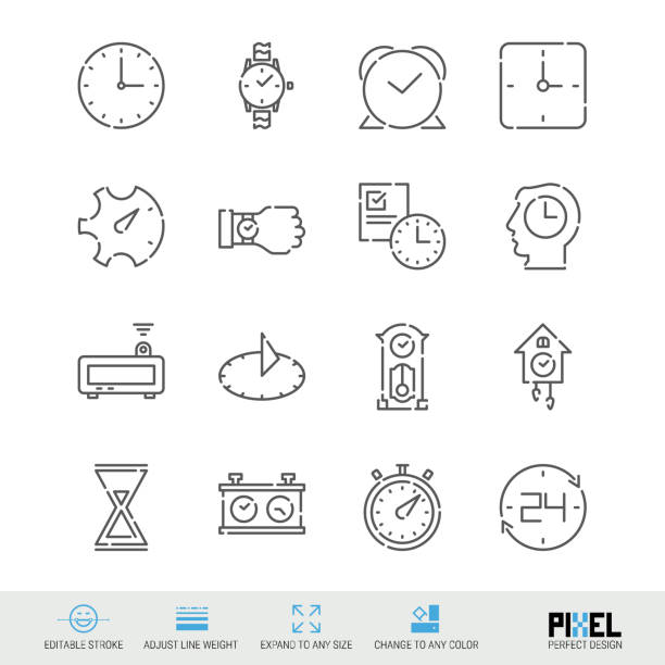 Vector Line Icon Set. Time Related Linear Icons. Clock Symbols, Pictograms, Signs Vector Line Icon Set. Time Related Linear Icons. Clock Symbols, Pictograms, Signs. Pixel Perfect Design. Editable Stroke. Adjust Line Weight. Expand to Any Size. Change to Any Color. wall clock stock illustrations