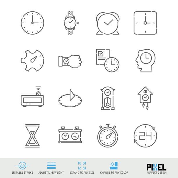 ilustraciones, imágenes clip art, dibujos animados e iconos de stock de conjunto de iconos de vector línea. iconos lineales relacionados con tiempo. símbolos, pictogramas, señales de reloj - wall clock