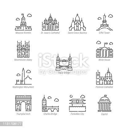 Vector Line Icon Set. World Sights Related Linear Icons. Old Landmarks Symbols, Pictograms, Signs. Editable Stroke. Adjust Line Weight. Expand to Any Size. Change to Any Color.
