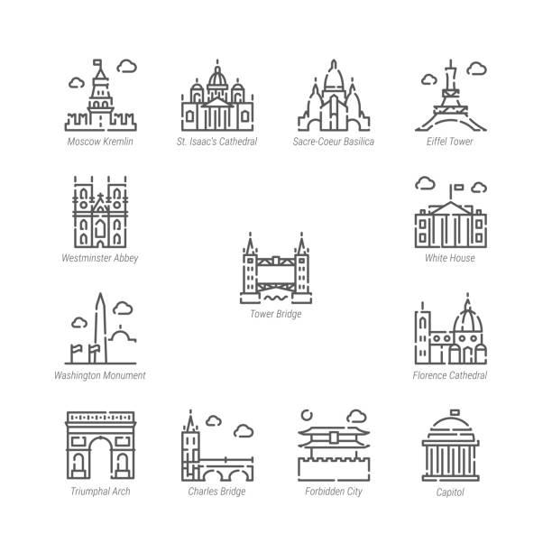 illustrazioni stock, clip art, cartoni animati e icone di tendenza di vector line icon set. world sights related linear icons. old landmarks symbols, pictograms, signs - firenze