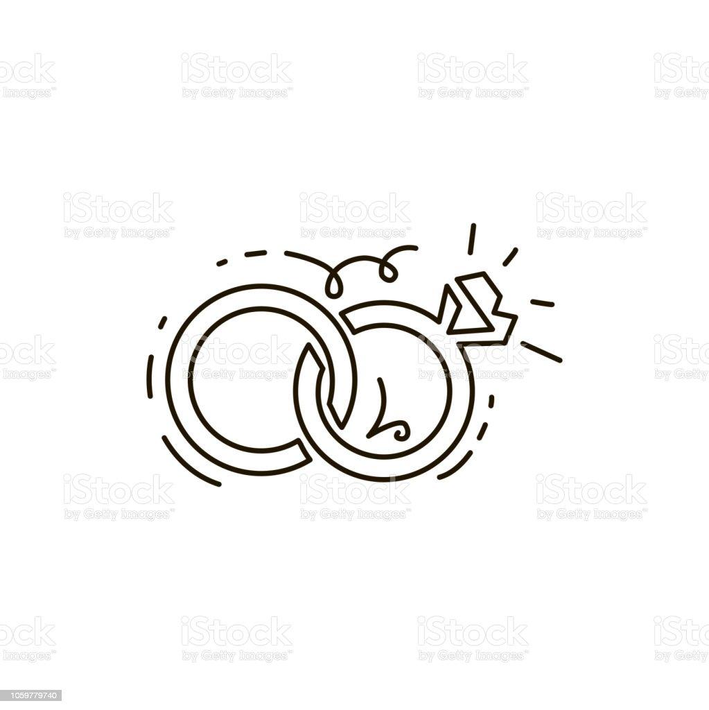 Vektorlinesymbol Zwei Ringe Zusammen Hochzeit Eine Strichzeichnung