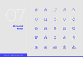 Simple line UI icons pack of various avatars, human heads. Vector pictogram set for mobile phone user interface design, UX infographics, web apps, business presentation. Sign and symbol collection.
