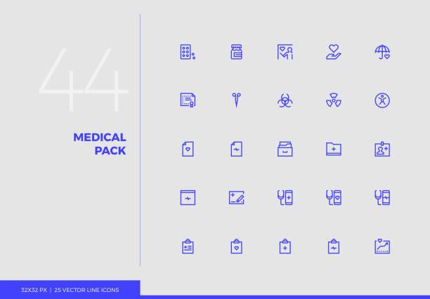 stockillustraties, clipart, cartoons en iconen met vector lijn iconen medische pack - doordrukstrip