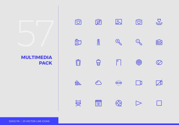 ilustrações de stock, clip art, desenhos animados e ícones de vector line icons multimedia pack - macro