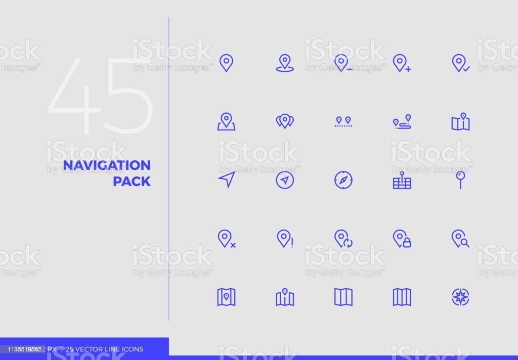 Vector Line Icons Navigation Pack vector art illustration