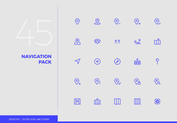 vector line icons navigation pack - wayfinding icons stock illustrations, clip art, cartoons, & icons