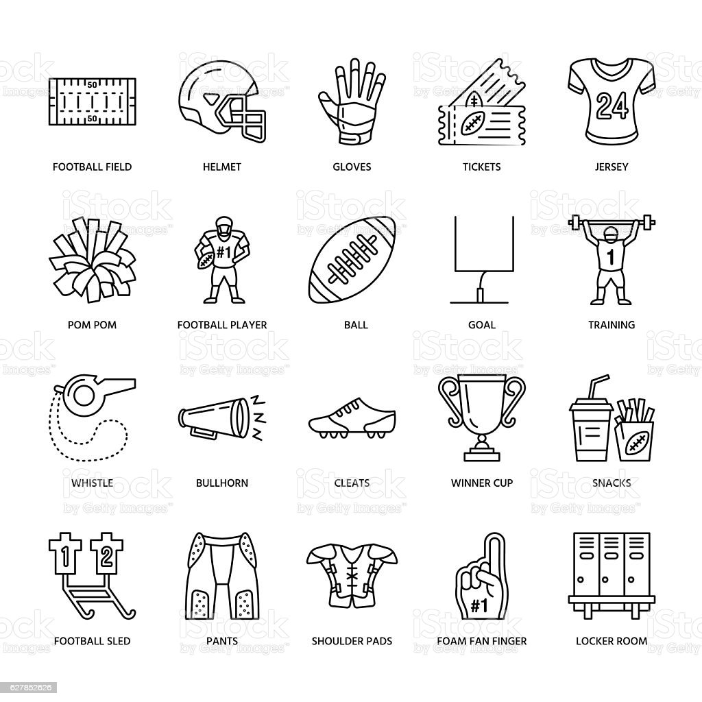 Vector line icons of american football game. Elements - ball vector art illustration
