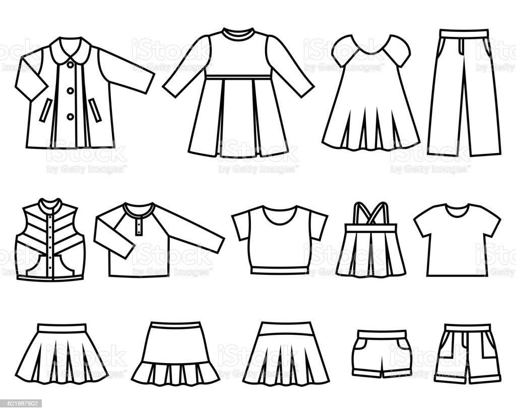 Vector line icons of baby clothes for girls. vector art illustration