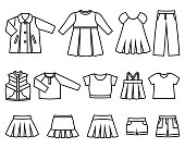 Vector line icons of baby clothes for girls.