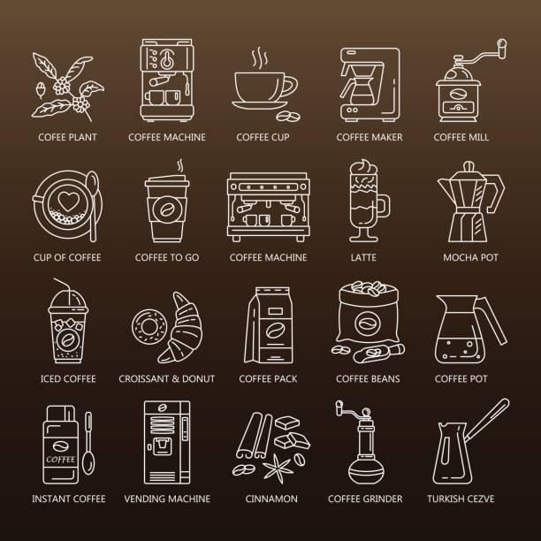 Vector line icons of coffeemaking equipment. Coffee set vector art illustration