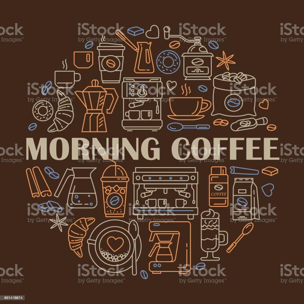 Vector line icons of coffeemaking equipment. Coffee set vector art illustration