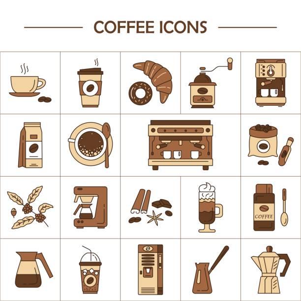 ilustrações de stock, clip art, desenhos animados e ícones de vector line icons of coffeemaking equipment. coffee set. - café solúvel