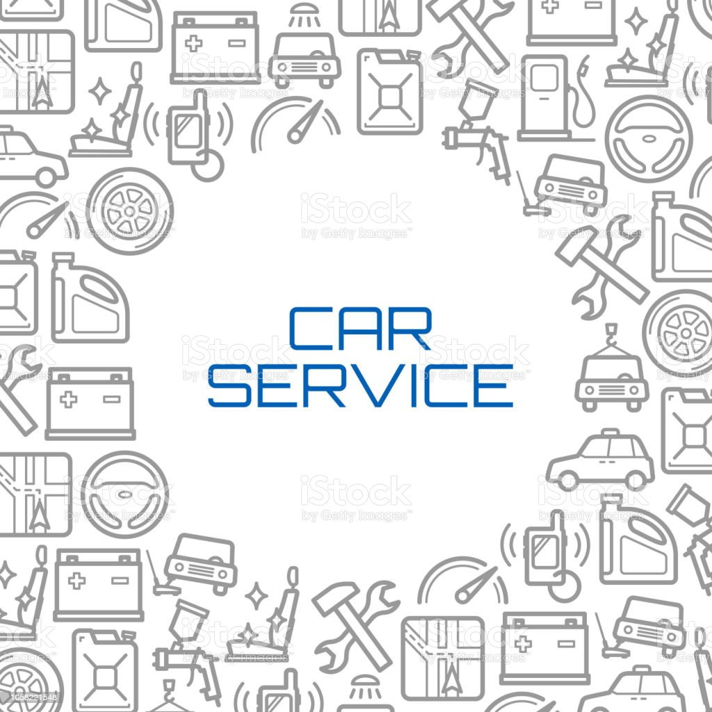 Vector line icons poster of car service tools vector art illustration