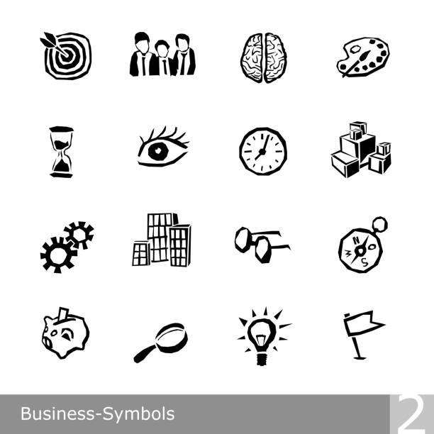 bildbanksillustrationer, clip art samt tecknat material och ikoner med vektor linje ikoner set av business symboler i unik grov och ojämn design - brain magnifying