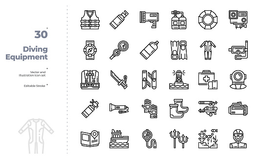 Vector Line Icons Set of Diving Equipment. Editable Stroke.
