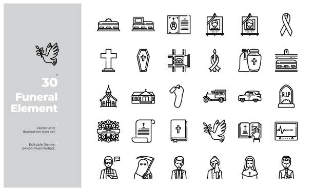 Vector Line Icons Set of Funeral Element. Editable Stroke. Vector Icon and Illustration Design. All Icon design based on 64x64 Editable Stroke. Design for Website, Mobile App and Printable Material. Easy to Edit & Customize. death stock illustrations