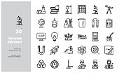 Vector Line Icons Set of Science Element. Editable Stroke.