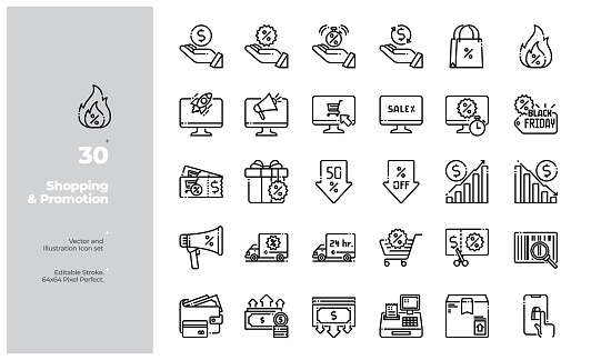 Vector Line Icons Set of Shopping, E-Commerce, Discount and Promotion icon