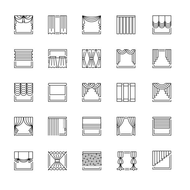 vector line icons with drapes. window curtains, blinds and shades. - жалюзийный тип stock illustrations