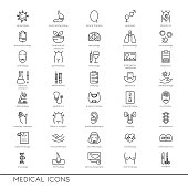 Vector line icons with medical symbols specialization. Medical professions.
