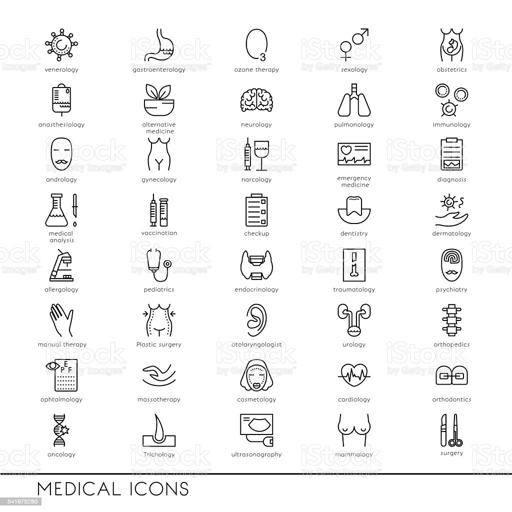 Vector line icons with medical symbols specialization. Medical professions. ベクターアートイラスト