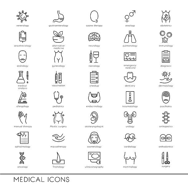 ilustraciones, imágenes clip art, dibujos animados e iconos de stock de vector line icons with medical symbols specialization. medical professions. - pediatra