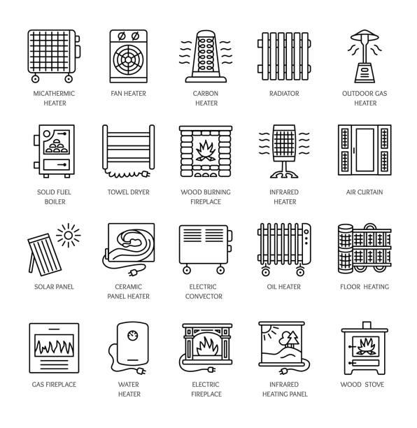 bildbanksillustrationer, clip art samt tecknat material och ikoner med vektor linje ikoner med kylare, konvektor och öppen spis. uppvärmningsutrustning för hem och kontor. olika stilar av gas, olja & elektriska bastuaggregat. - solar panel