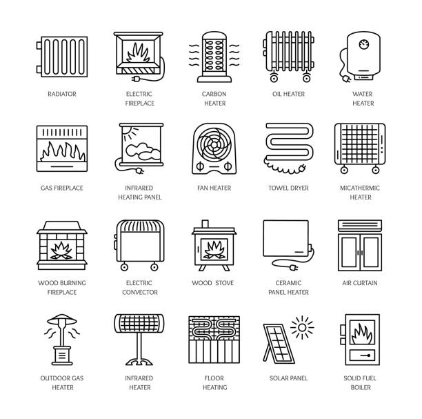 ilustrações de stock, clip art, desenhos animados e ícones de vector line icons with radiator, convector and fireplace. heating equipment for home and office. different styles of gas, oil & electric heaters. - forno