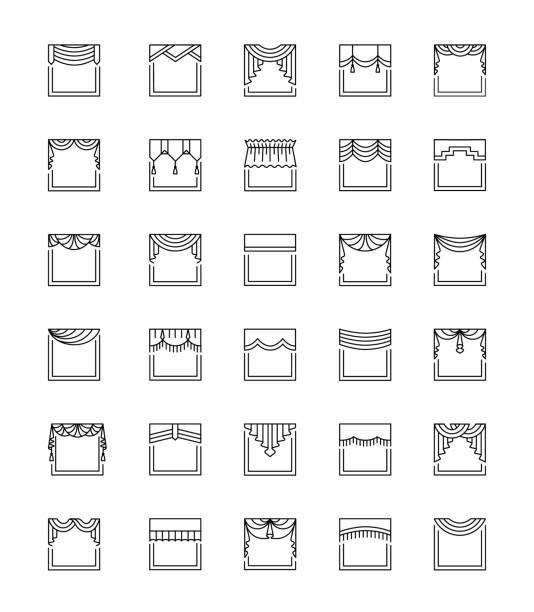 vektor-linie-icons mit schürzen und schabracken. top fensterbehandlung. lambrequins - gesims stock-grafiken, -clipart, -cartoons und -symbole
