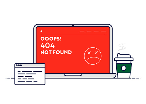 Vector Line Illustration Concept for 404 Not Found. Editable Stroke and Pixel Perfect.