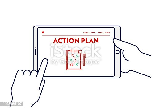 Vector Line Illustration Concept for Action Plan. Editable Stroke and Pixel Perfect.