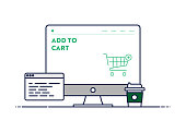 Vector Line Illustration Concept for Add to Cart. Editable Stroke and Pixel Perfect.
