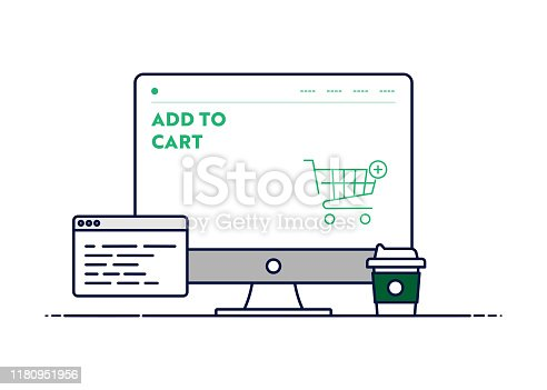 istock Vector Line Illustration Concept for Add to Cart. Editable Stroke and Pixel Perfect. 1180951956