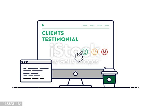 Vector Line Illustration Concept for Clients Testimonial. Editable Stroke and Pixel Perfect.