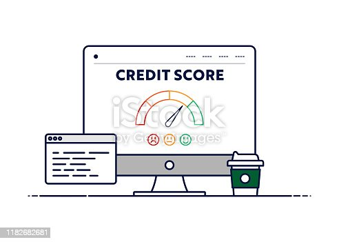 Vector Line Illustration Concept for Credit Score. Editable Stroke and Pixel Perfect.