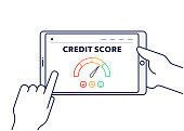 istock Vector Line Illustration Concept for Credit Score. Editable Stroke and Pixel Perfect. 1193165282