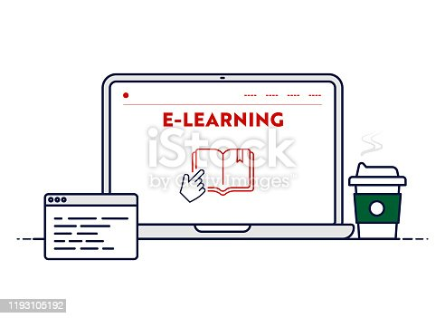 Vector Line Illustration Concept for E-Learning. Editable Stroke and Pixel Perfect.