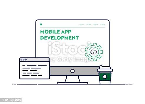Vector Line Illustration Concept for Mobile App Development. Editable Stroke and Pixel Perfect.